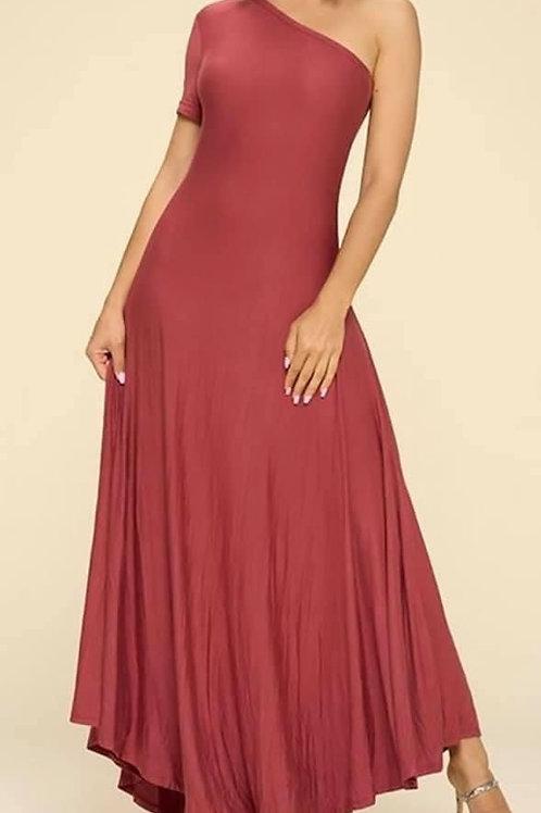 Brick color , One Arm Maxi Dress