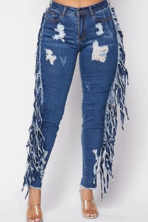 Distressed/Fringed Denim Pants
