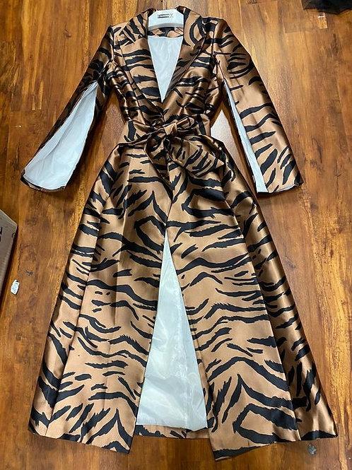 Zebra Coat Dress With Cape Like Sleeves and Waist Tie