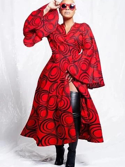 Red/Black African Printed Wrap Dress W/t Fluted Sleeves