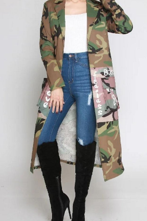 **Pre-Order**  Camouflage Duster Coat W/t Writings in plus sizes