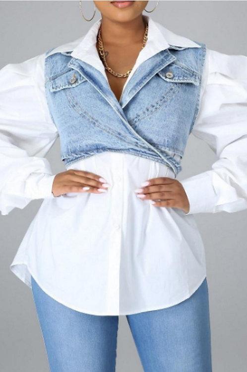 White Puffy Sleeves Shirt Paired W/t Denim Vest Jacket