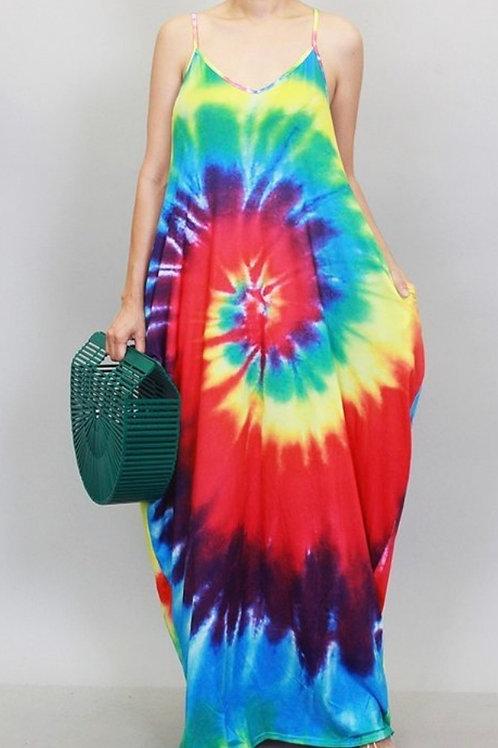 Red Multicolored Tie Dye Maxi Dress