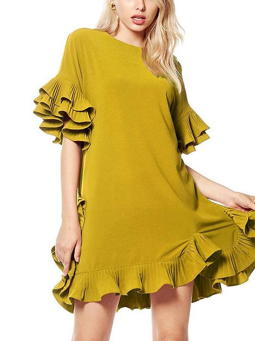 Mustard Midi Ship Dress W/t Ruffled Sleeves And Down The Sides