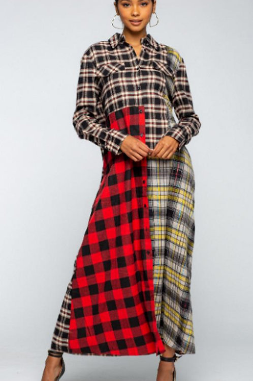 Color Block Plaid, Button Down Shirt Dress