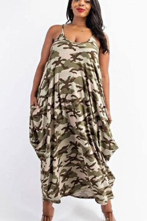 Camouflage Spaghetti Sundress W/t Side Pockets