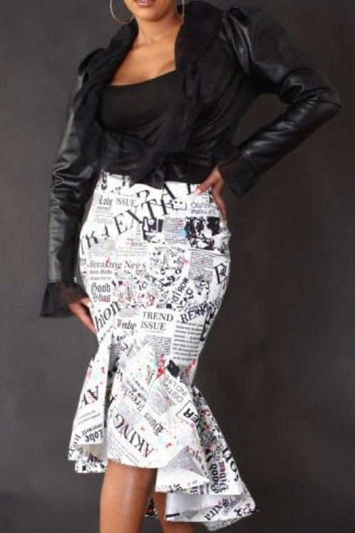 Newspaper Skirt w/t Fluted Hemline