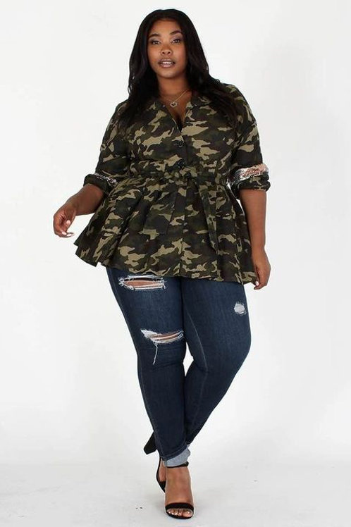 Camouflage Peplum Jacket W/t Embellishment And Waistband