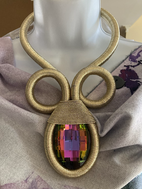 Gold Coiled Iridescence Choker Necklace