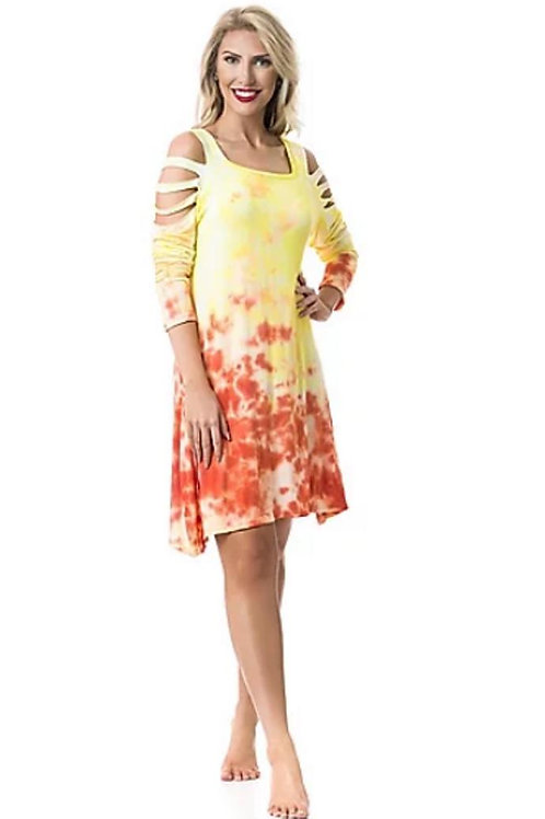 Yellow & Orange Tie-Dye Tunic or Dress Cut Shoulder... Pants sold separately!