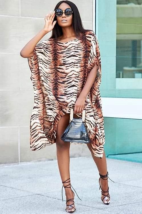 Brown Zebra Pattern Tunic/Caftan