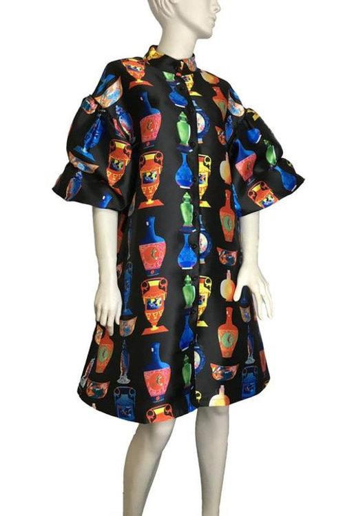 Satin Jacket/Dress W/t Colorful Embossed Tapestry Jar Designs