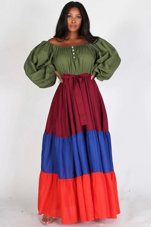 Long Sleeves Four Tone Off The Shoulder Maxi A-Line Dress