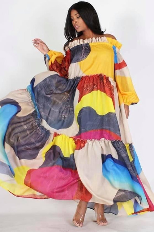 Multi Color A-Line Chiffon Dress