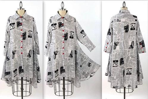 Black/white Newspaper Tunic Or Dress