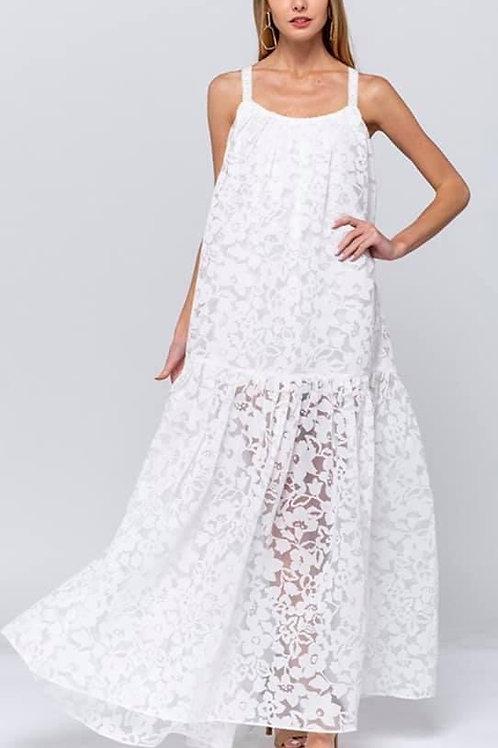 Off White Lace Maxi Sundress W/t Crisscross Back