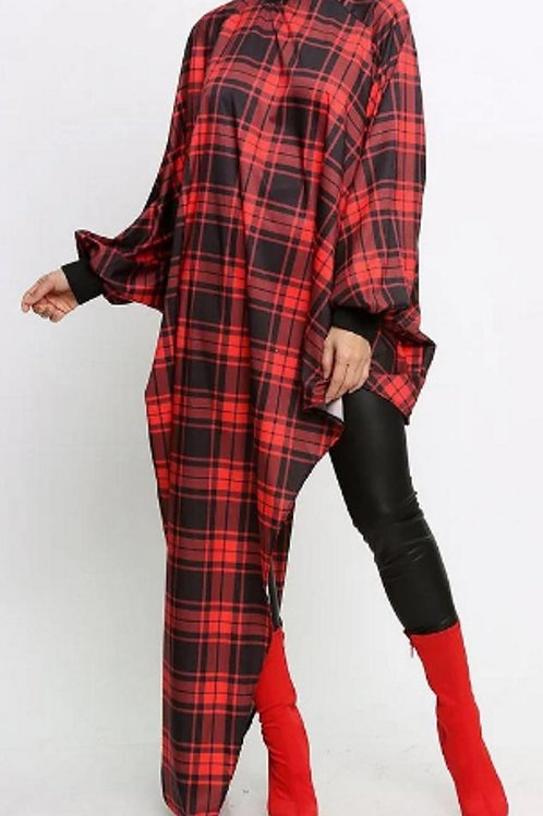Red Plaid Hi-Low TurtleneckTunic