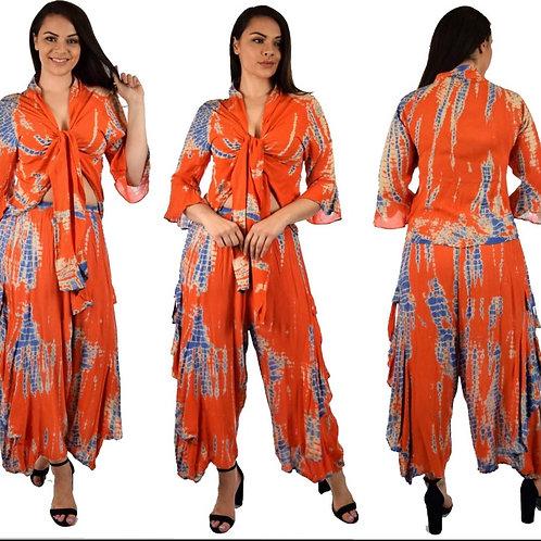 2PCs Orange Tie Dye Pants Set