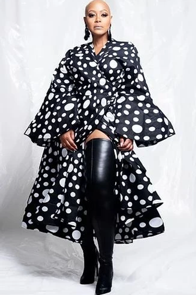 Black/White Printed African Wrap Dress W/t Bell Sleeves