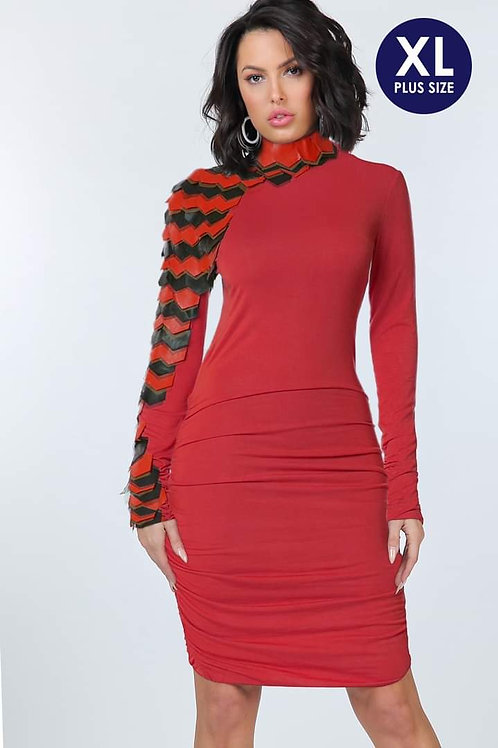 Red Lightweight Knit Dress Trimmed in Red/Black Faux Leather down the Right Side