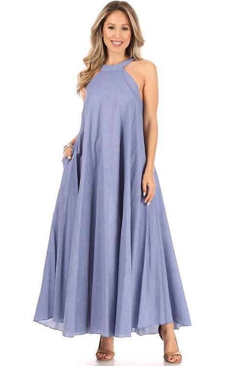 Denim Sleeveless A-Line Sundress W/t Pockets