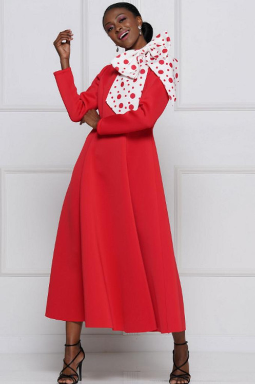 c604cab69ada Red A-Line Maxi Dress W/tRed/White Polka Dot Bow