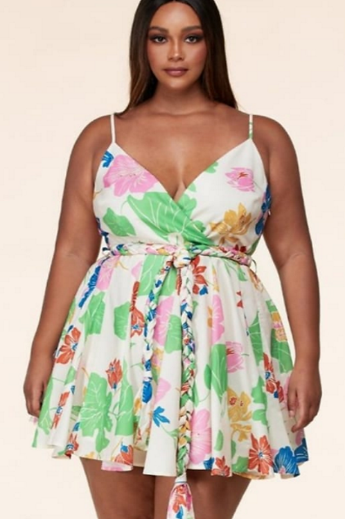 Floral V-Neck Skater Dress W/t Spaghetti Straps And Braided WaistBand