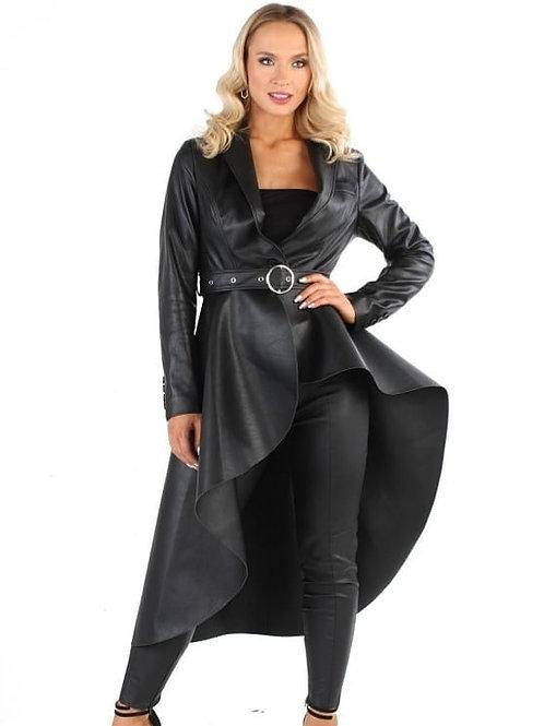 Black Hi-Low Faux Leather Jacket W/t Waist Belt