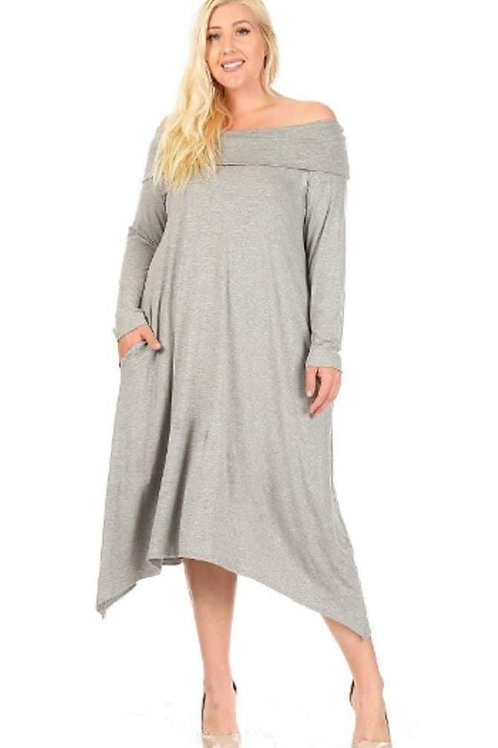 Heather Grey Knit Midi Dress W/t  A Relax Cowl Shoulder
