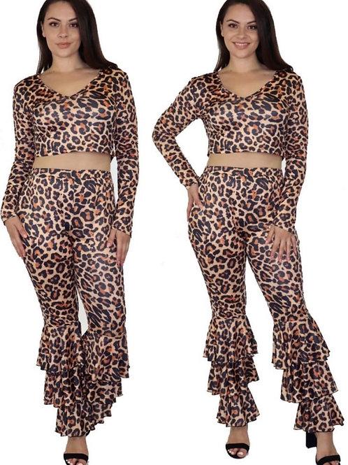 Animal Printed 2PCs Pants set W/t Ruffled Hemlines