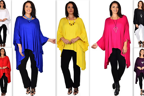 Asymmetrical Poncho Top W/ t Bell sleeves