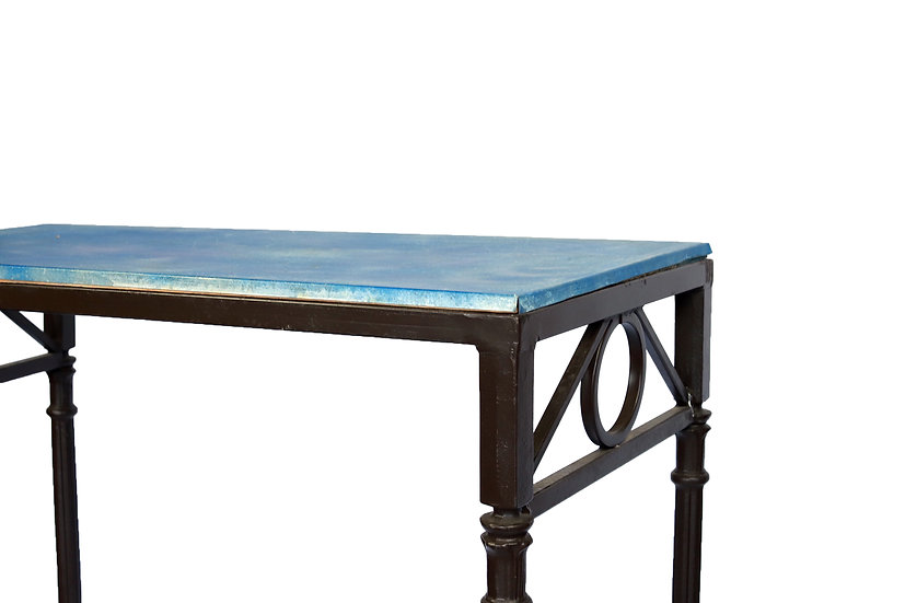 Blue top tall iron table