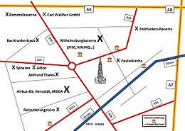Ulm Rüstung Firmen Rüstungsindustrie Landkarte map defence industry company peace movement