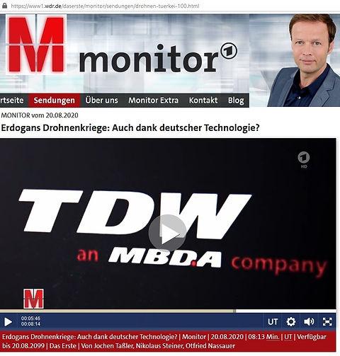 20200820 Fernsehsendung TV monitor ARD TDW MBDA Türkei Waffen