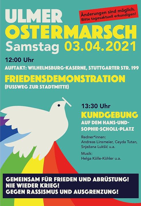 Ulm Ostermarsch Plakat 2021
