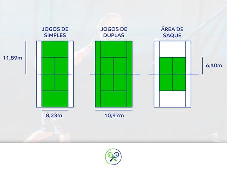 Tênis: Quadra de simples e de duplas.