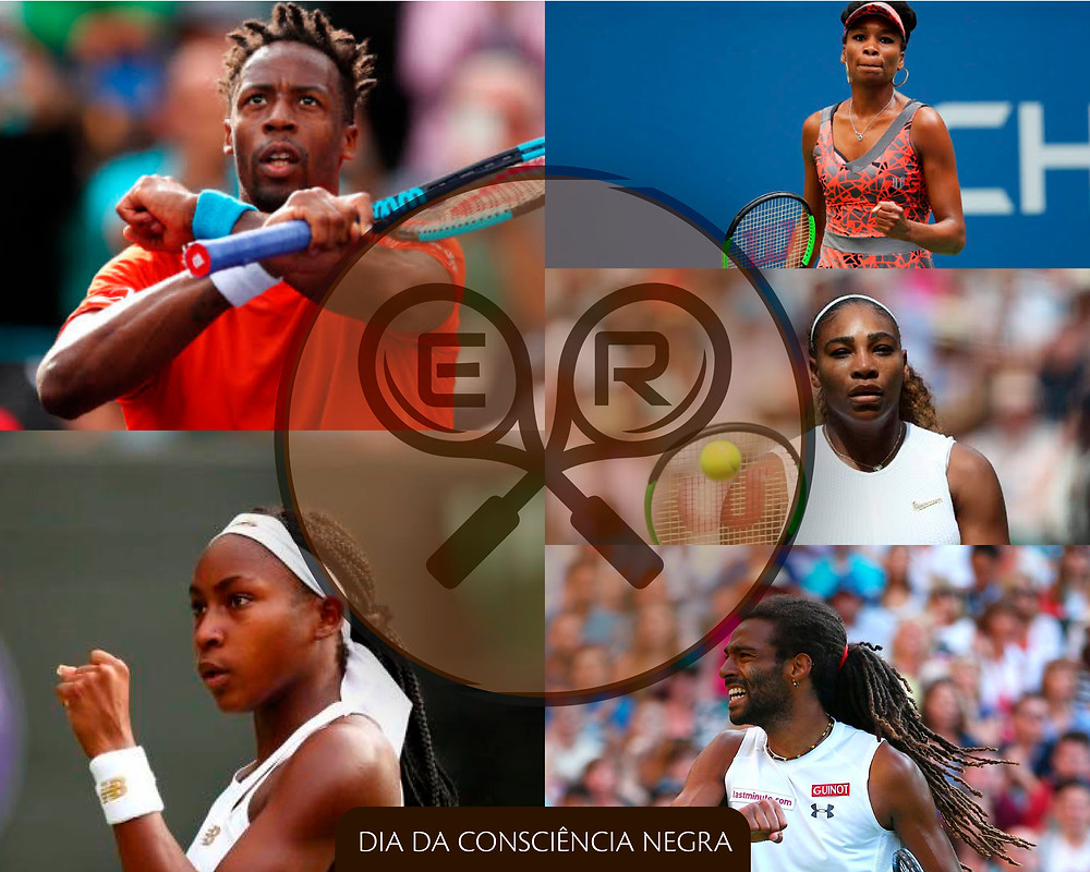 Tenistas negros da atualidade, Gael Monfils, Serena Williams, Venus Williams, Cori Gauff e Dustin Brown.