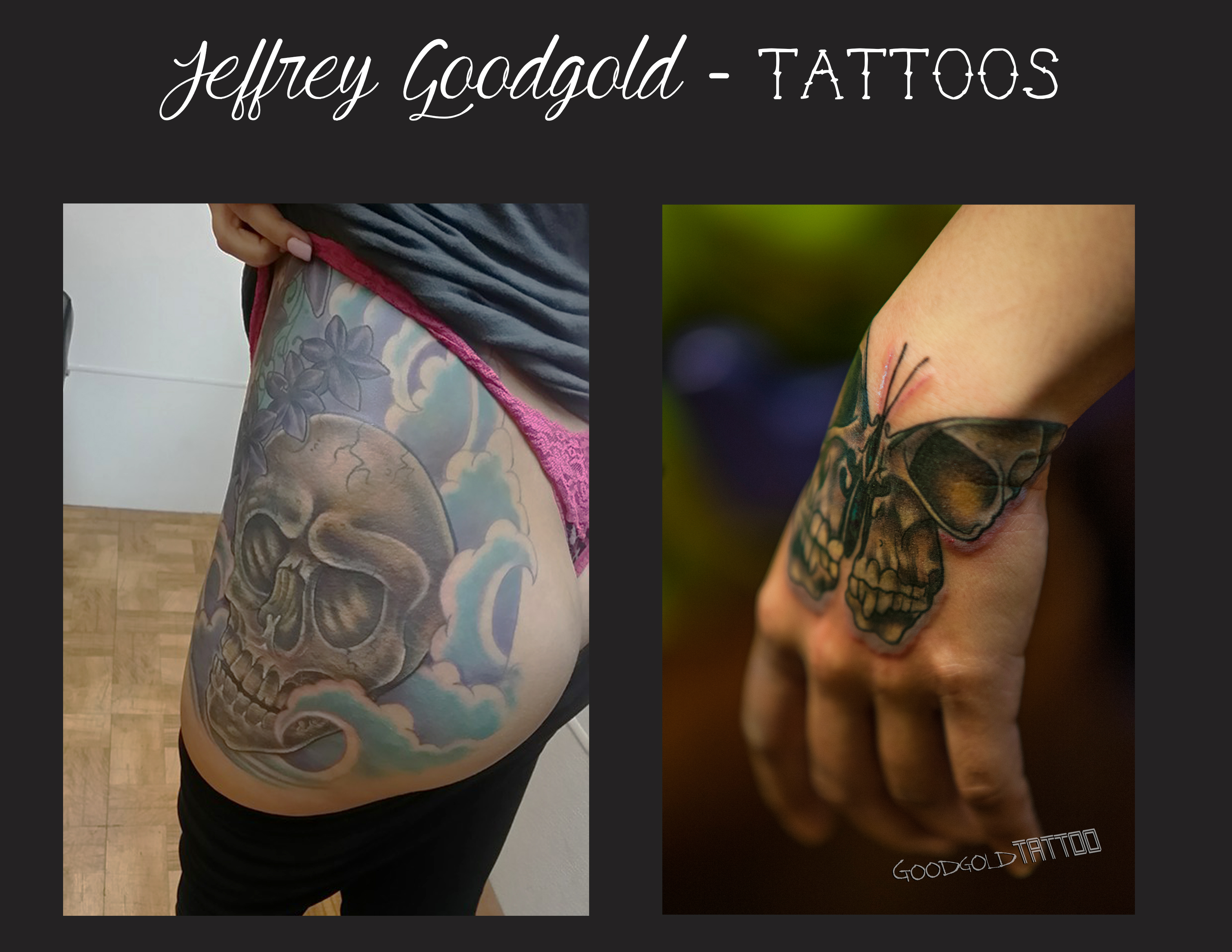 Thig& hand butterfly skull tattoo