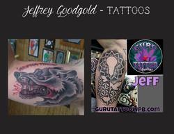 Wolf & sacred geometry tattoo