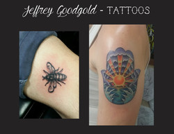 bee & hamsa tattoo