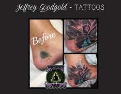 Lotus cover up tattoo on foot