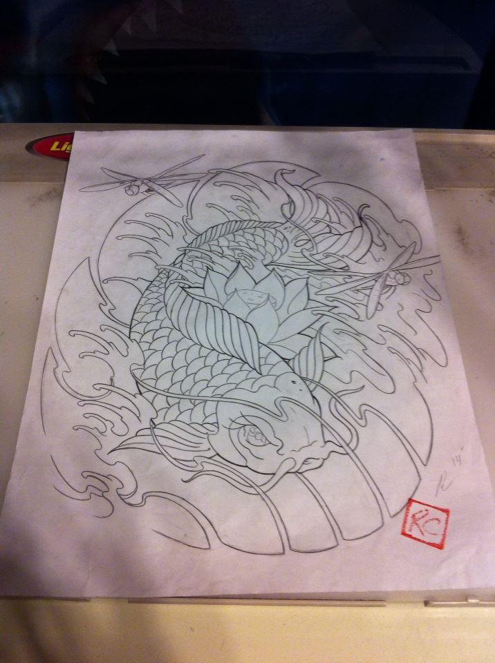 Koi tattoo drawing