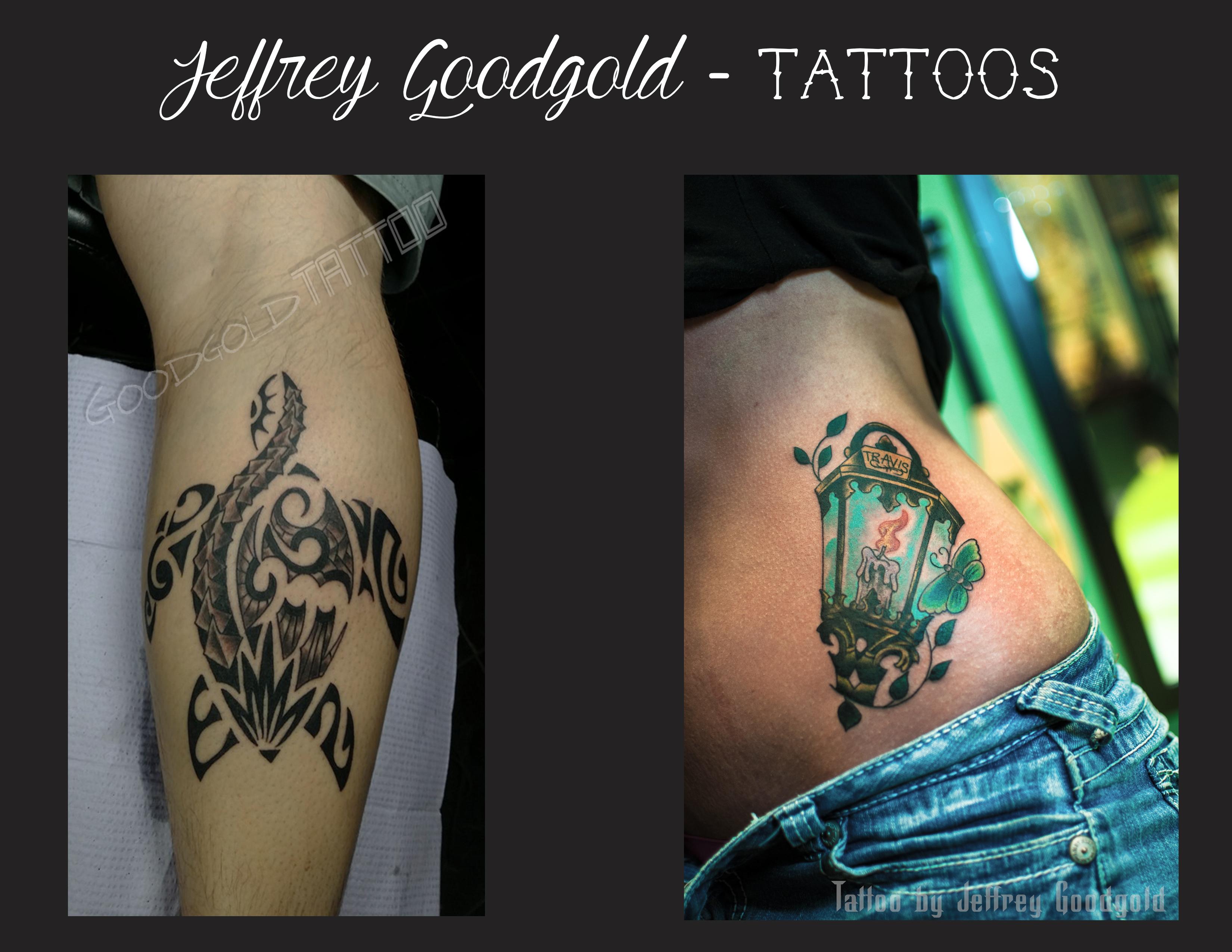 tribal turtle & lantern tattoo