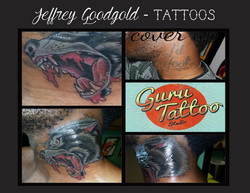 Wolf neck cover-up tattoo