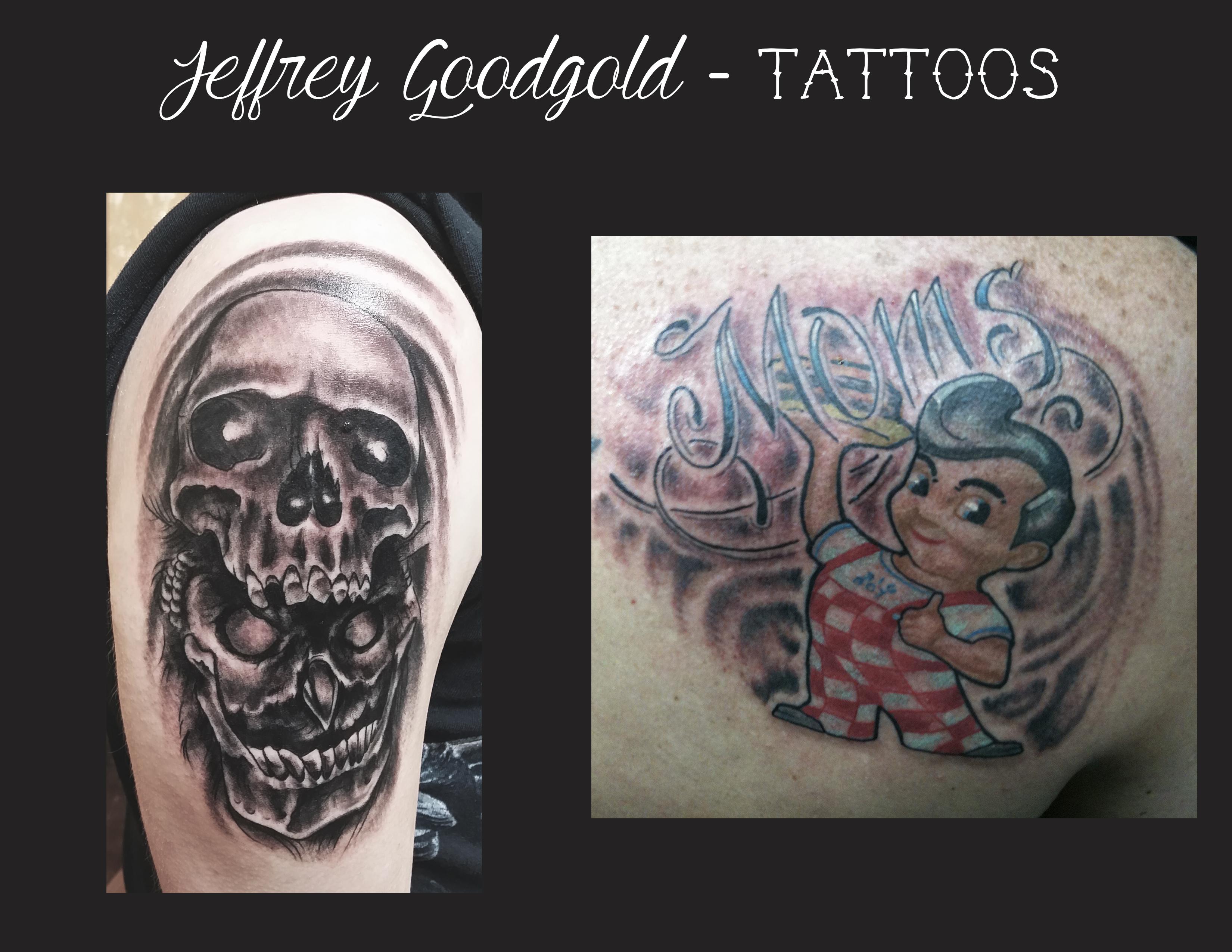 Owl skull & Big boy tattoo
