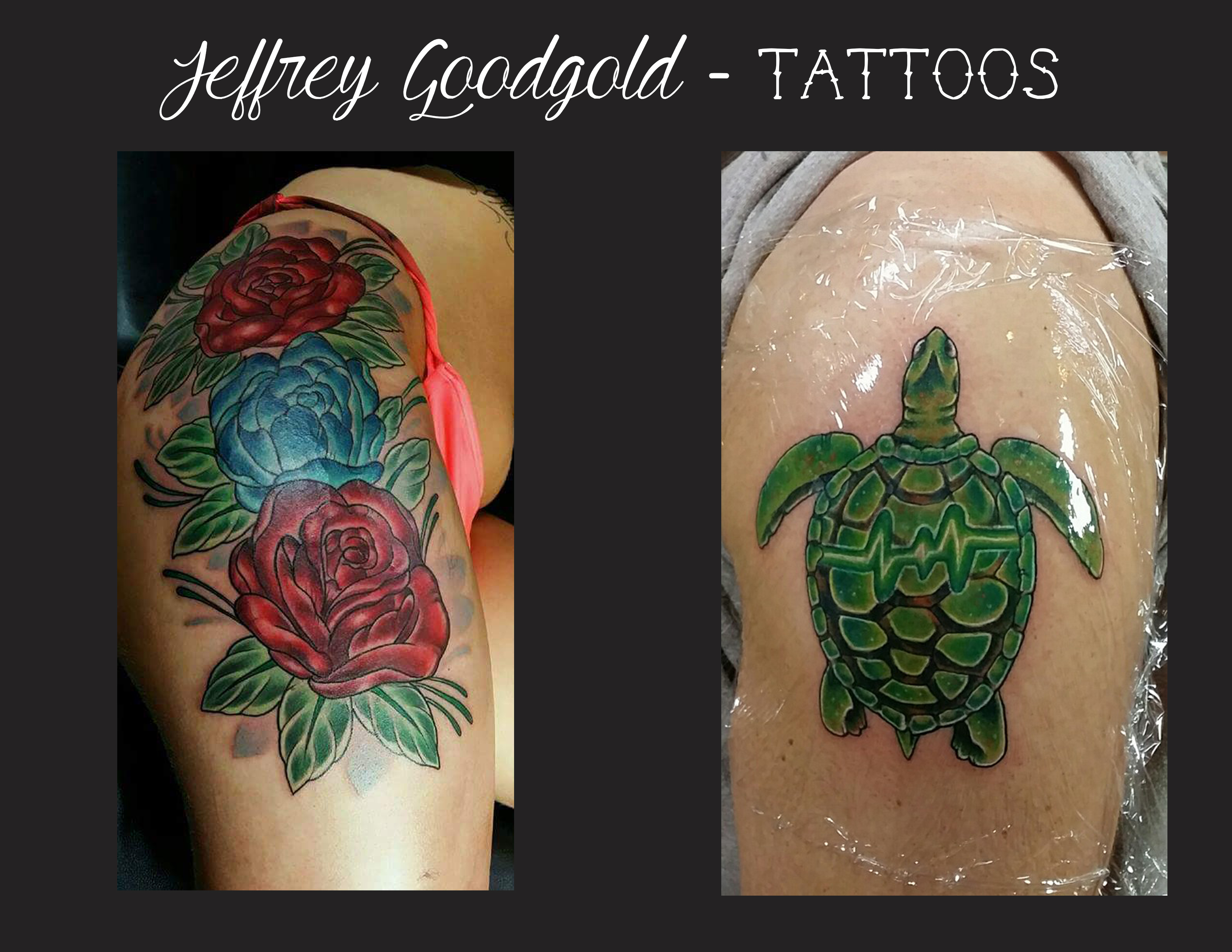 thigh flower piece & turtle tattoo
