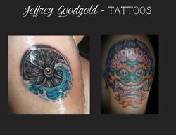 compass & Tibetan mask tattoo