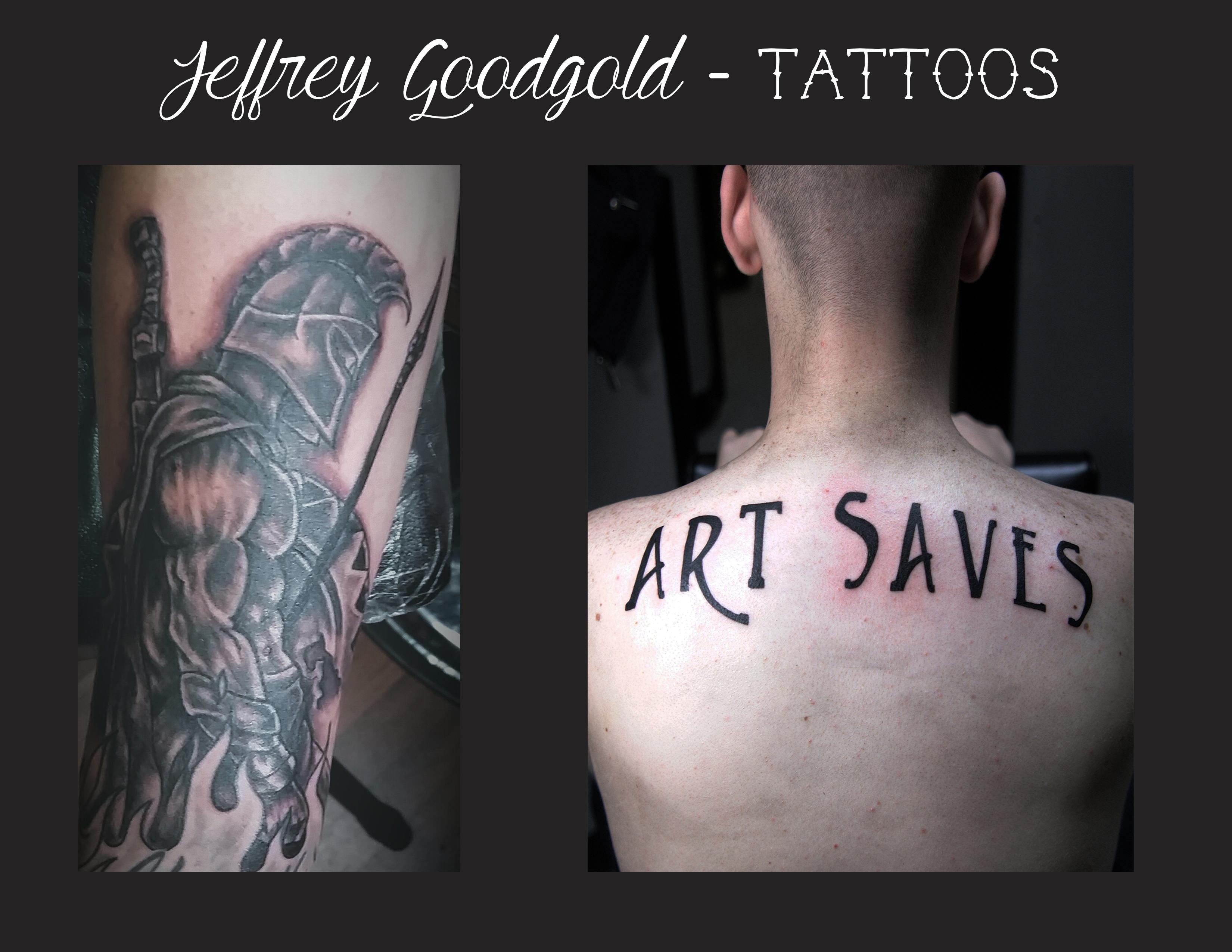 Gladiator & lettering tattoo