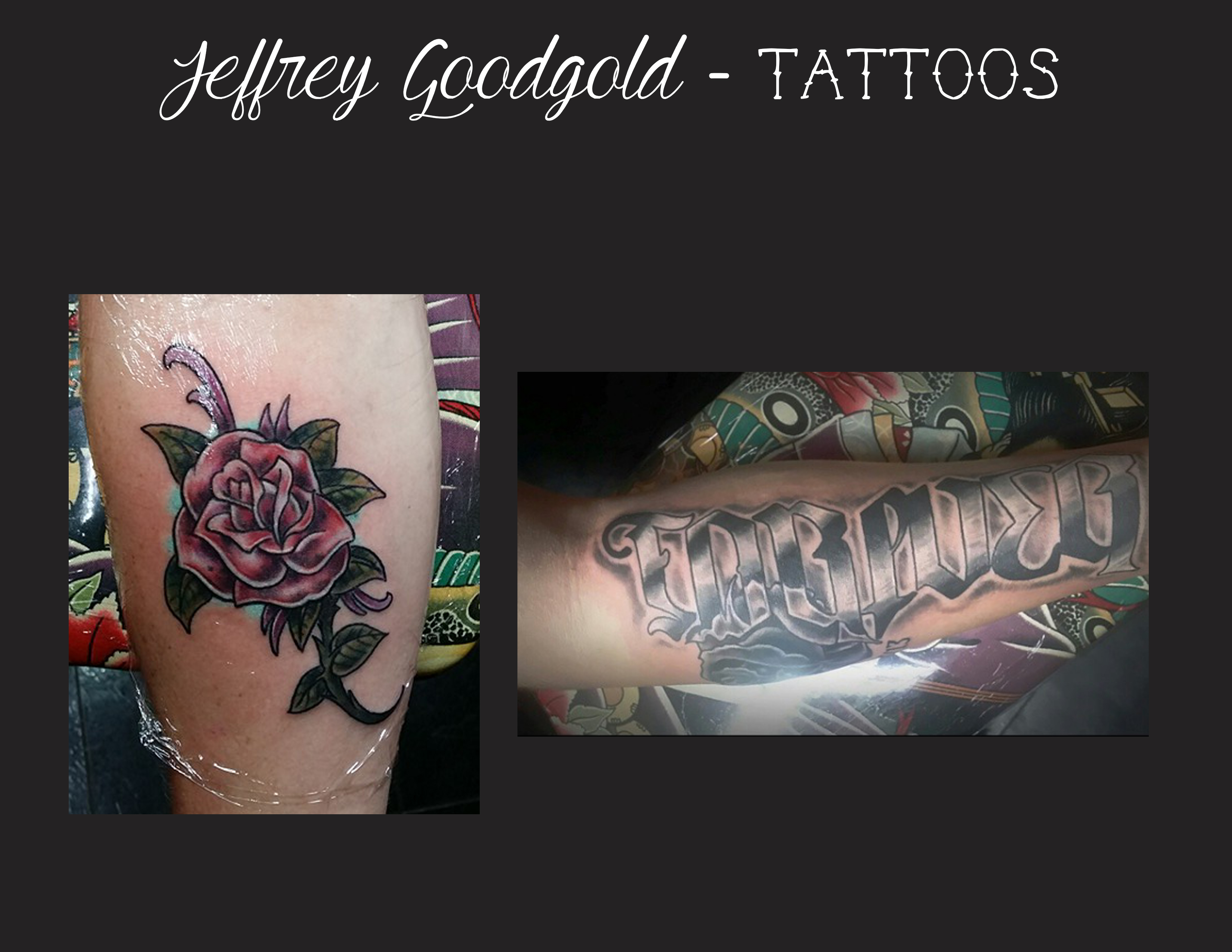 rose & lettering tattoo