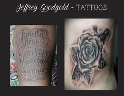 lettering & casket rose tattoo